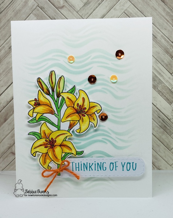 Thinking of You by Debbie features Banner Trio, Floral Roundabout, Easter Lily, and Waves by Newton's Nook Designs; #newtonsnook
