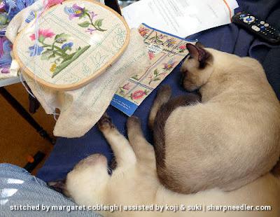 Crewel Sampler (by Elsa Williams): Sleeping kittens