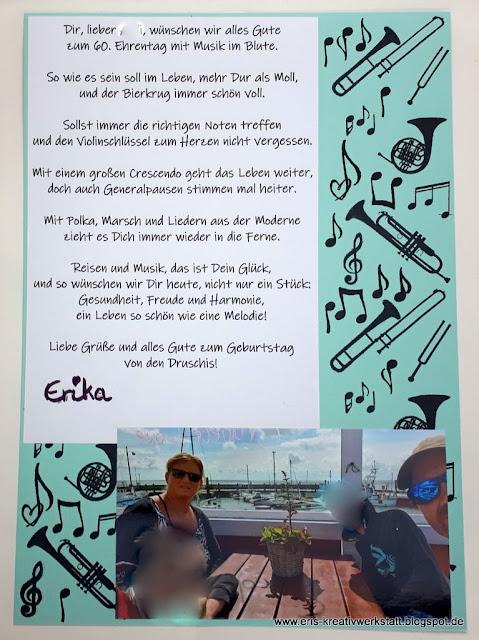 Gestaltete Seite mit Gedicht für einen Musiker Stampin' Up! www.eris-kreativwerkstatt.blogspot.de