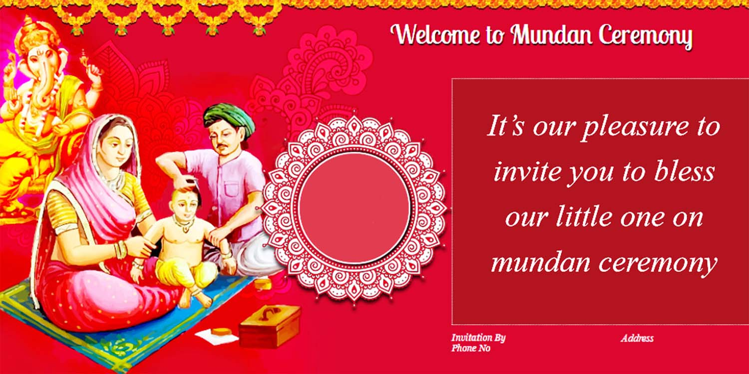 Mundan Ceremony Invitation Quotes Card Design And