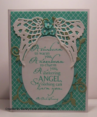 ODBD Sheltering Angel, ODBD Custom Angel Wings Dies, ODBD Custom Fancy Foliage Dies, ODBD Customer Card of the Day by Carolyn aka snowmanqueen
