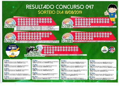 Solidariedade dá Sorte - Concurso 047 - 18/08/2019