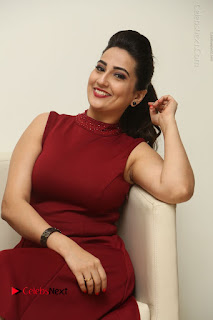 Telugu Tollywood Anchor Manjusha Pos in Red Short Dress  0038.JPG