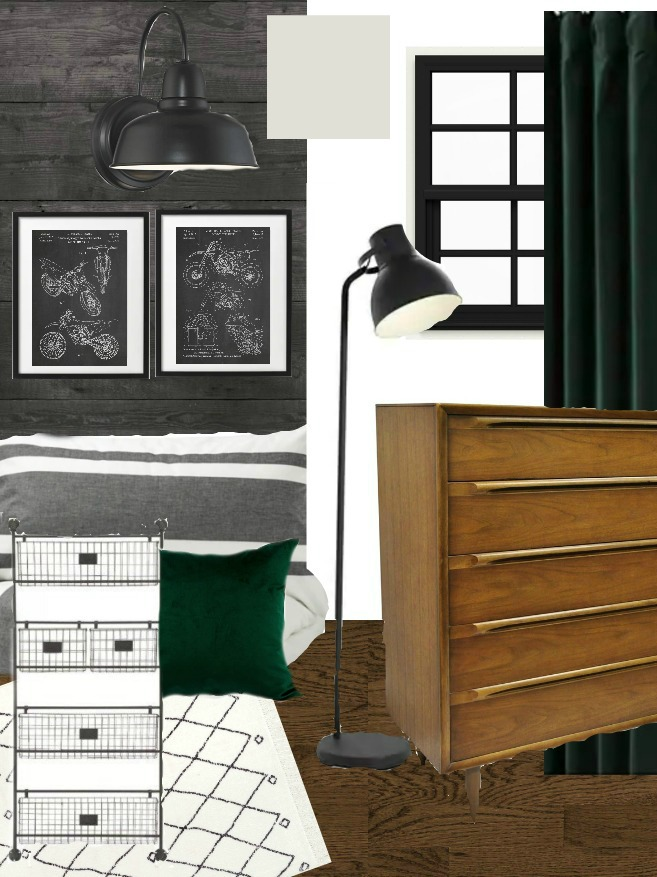 Modern industrial Motocross boy room mood board