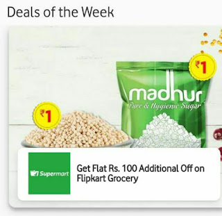 My vodafone App Offer - Download My Vodafone & Get Rs.100 Flipkart Grocery Coupon