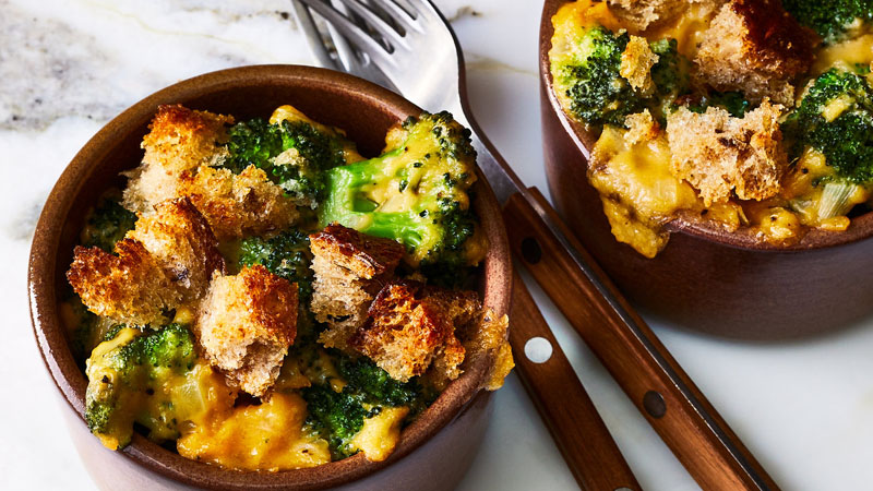 Broccoli and Beer Cheese Cocottes