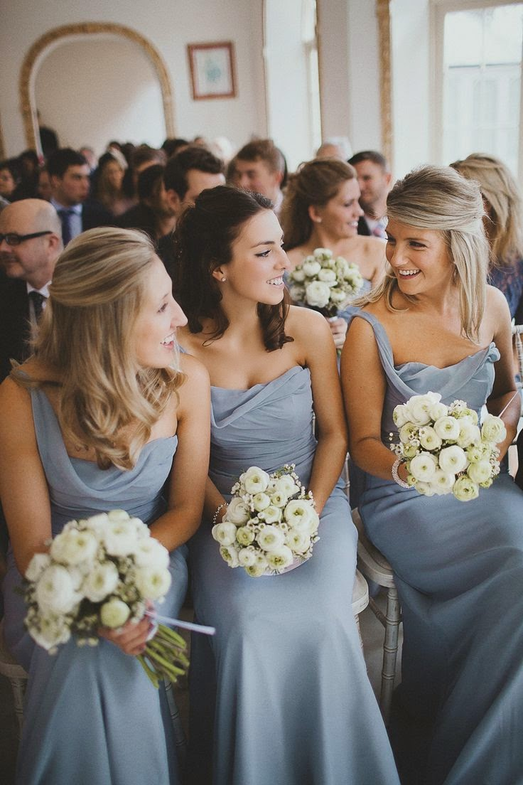 dusty blue bridesmaid + white bouquets