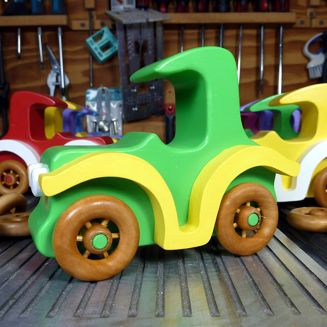 Handmade Wood Toy Car, An Old Fashioned Style Coupe from the Bad Bob's Custom Motors Series Toymaker's Shop