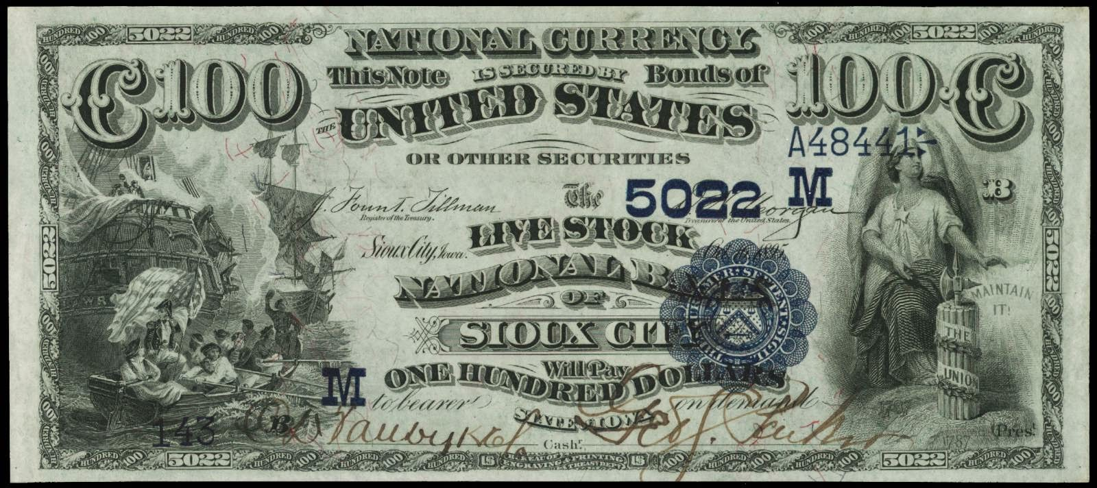 1882 100 Dollar National Currency Bank Note