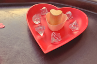 wooden heart dish with heard cupcake holder and heart press