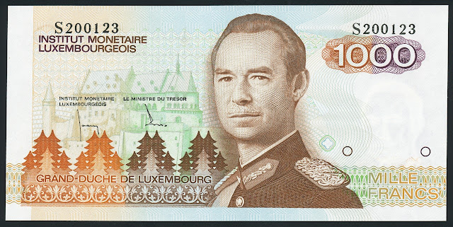 Luxembourg banknotes currency 1000 Francs banknote Grand Duke Jean