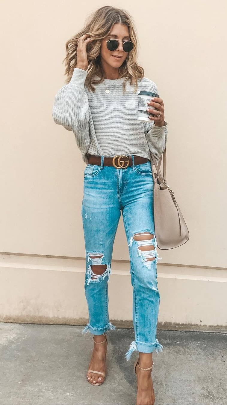 ootd | knit sweater + beige bag + ripped jeans + heels