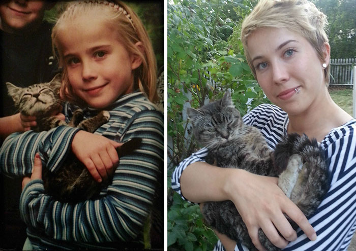 30 Beautiful Recreations Of Childhood Pictures - My First And Best Friend, Ramona, And I 16 Years Apart