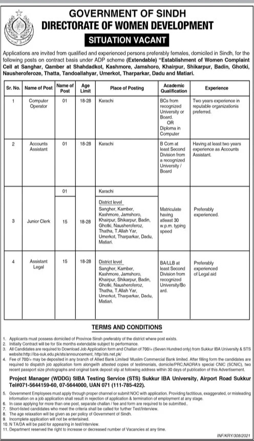 Women Development Directorate Government Of Sindh Jobs 2021 for Computer operator, Accounts Assistant Junior Clerk & more