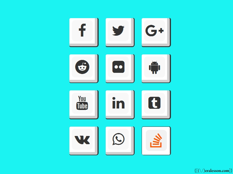 Social Media Icon Button With 100% Pure Css - Meralesson - Blogger