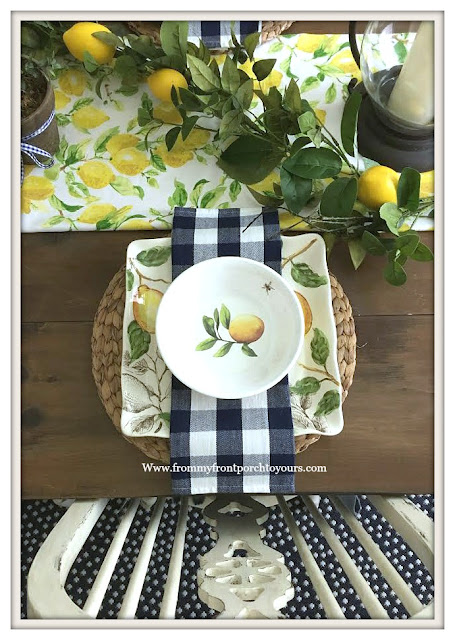 Lemon-Dinnerware-Late- Summer- Dining- Room- Decor-From My Front Porch To Yours