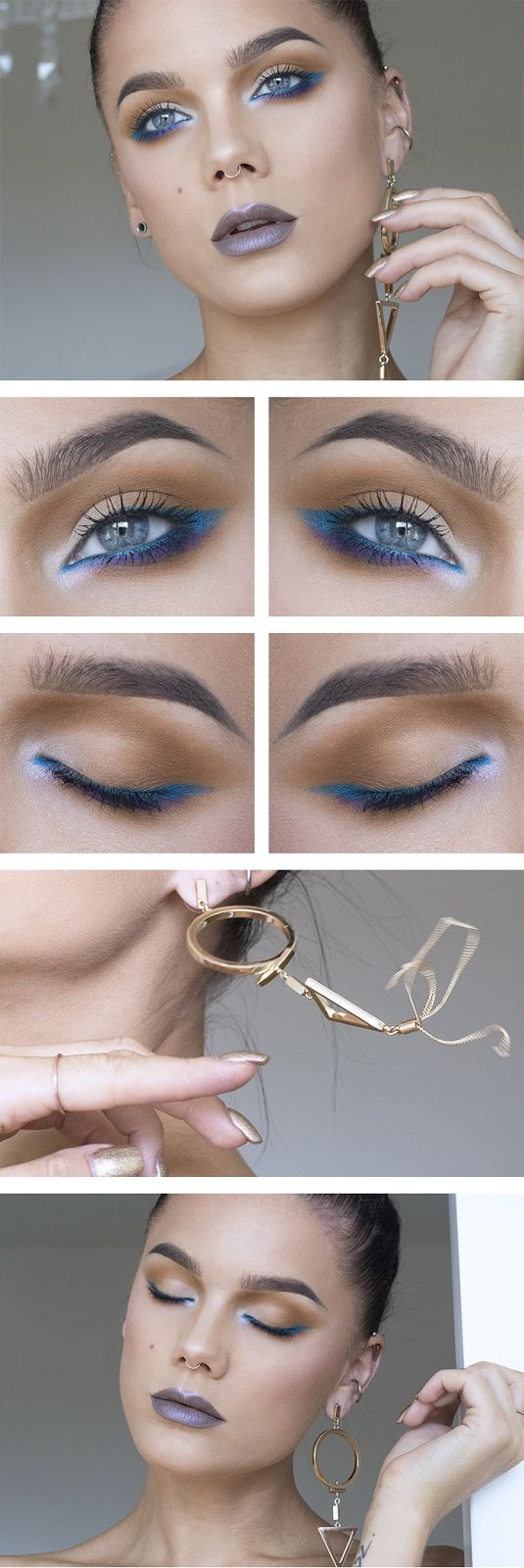 how to make makeup with a blue eyeliner