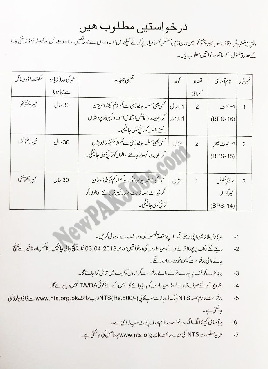 NTS Jobs in Auqaf Department Khyber Pakhtunkhwa KPK, Download Form