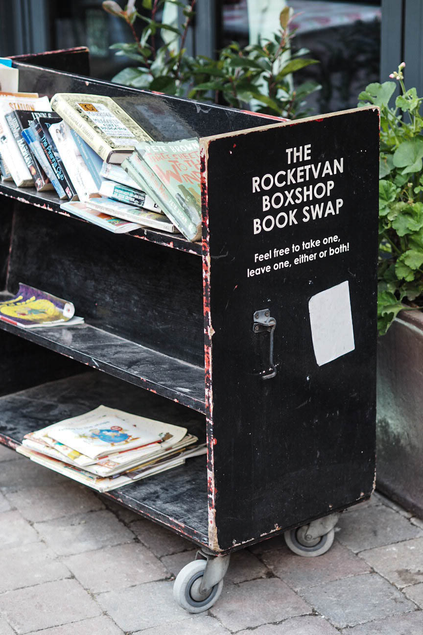 Book swap cart in Southwark