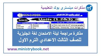 مذكرة مراجعة ليلة الامتحان في اللغة الانجليزية للصف الثالث الاعدادي الترم الاول 2019-2020-2021