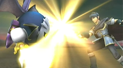 Meta Knight Marth Subspace Emissary cutscene duelling fighting swords Fire Emblem Super Smash Bros. Brawl Falchion Galaxia