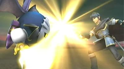 Meta Knight Marth Subspace Emissary cutscene duelling fighting swords Fire Emblem Super Smash Bros. Brawl Falchion Galaxia