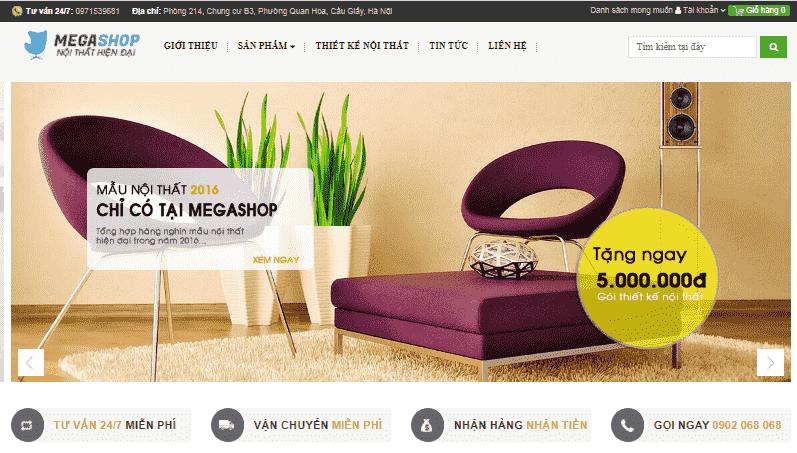 Giao diện blog bán hàng nội thất