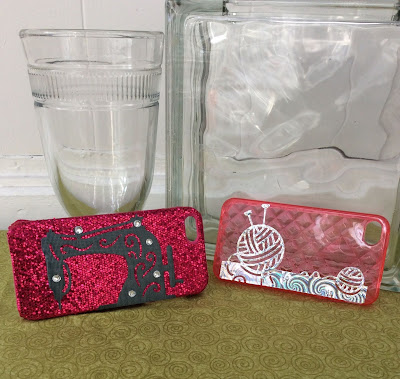 cell phone cover stickers, die cut sewing machine, die cut yarn ball knitting needles, stefanie Girard, crafter's companion