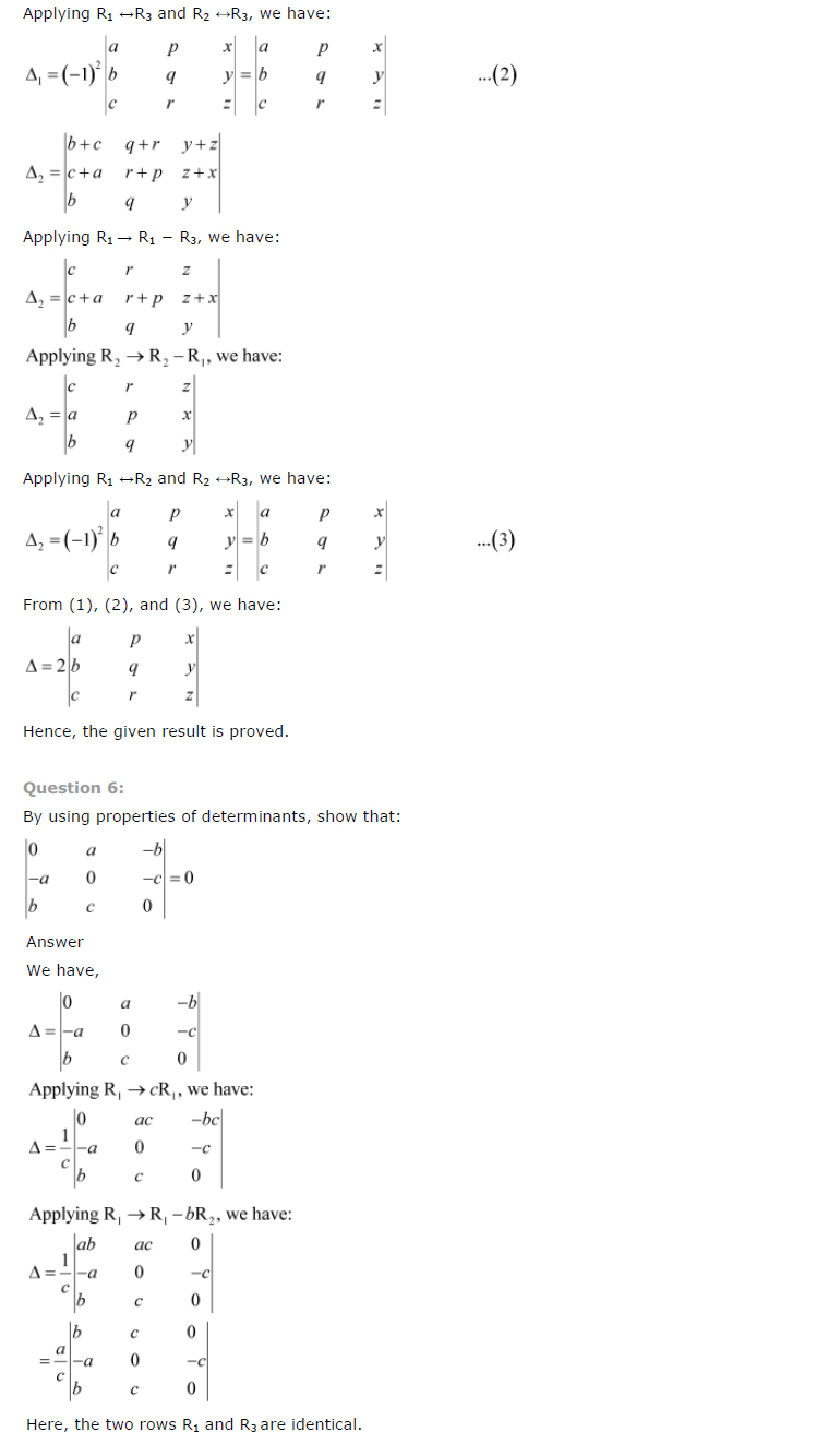 Class 12th Maths Chapter 4 Determinants