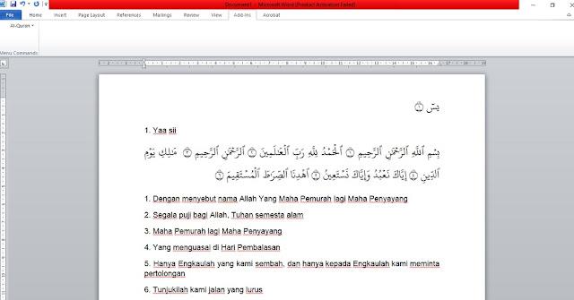 Cara menulis Al-Qur'an Di Microsoft Word