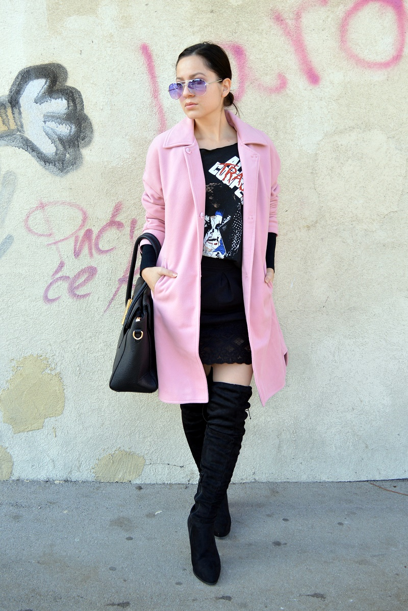 pink coat over the knee boots outfit