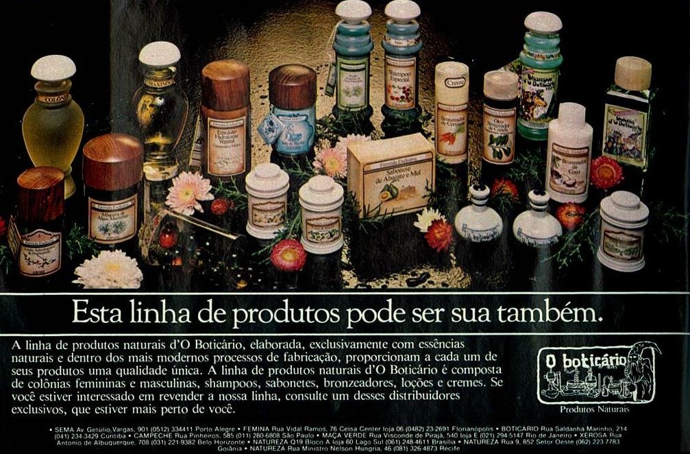 Propaganda antiga com a linha de produtos do O Boticário apresentado no começo dos anos 80
