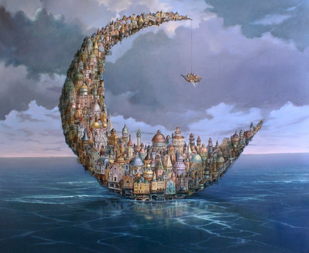 11-Moon-City-Tomek-Sętowski-Oil-Paintings-Magical-Realism-meets-Surrealism-www-designstack-co