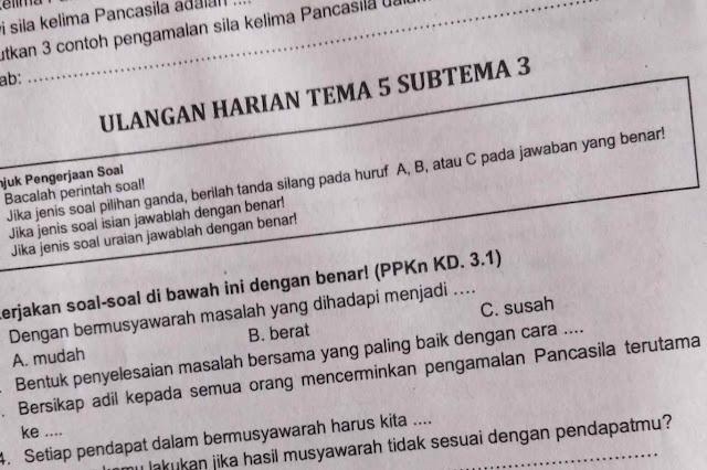 Soal Ulangan Harian K-13 Kelas 2 Tema 5 Subtema 3