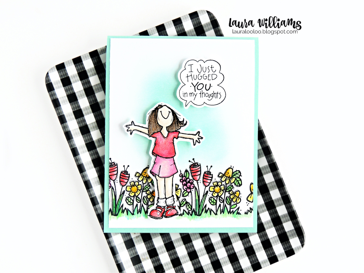 Handmade card ideas with rubber stamping and coloring from Impression Obsession - I just hugged you in my thoughts - the perfect sentiment for social distancing and to say I LOVE YOU or I MISS YOU to a friend. Everyone loves to get mail in the mailbox so make cards for those you love with simple stamps from Impression Obsession.