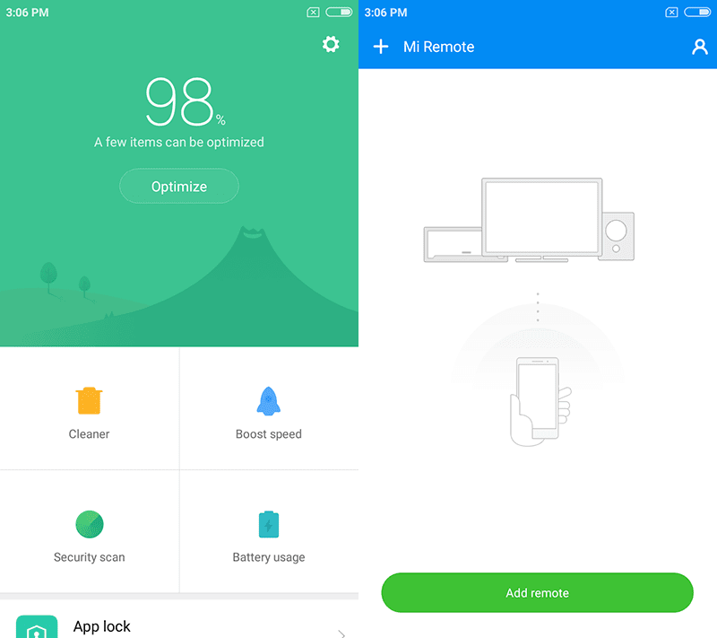 Security and Mi Remote apps