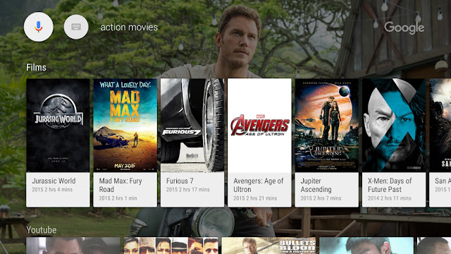 Google app for Android TV Application Interface