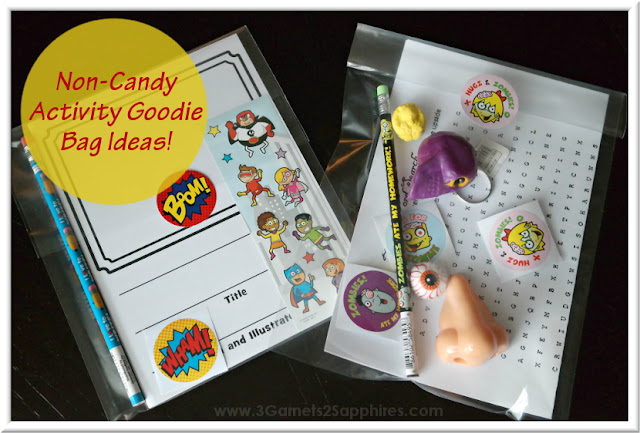 DIY Comic Book and Zombie-Themed (Free Printable) Activity Goodie Bags  |  3 Garnets & 2 Sapphires