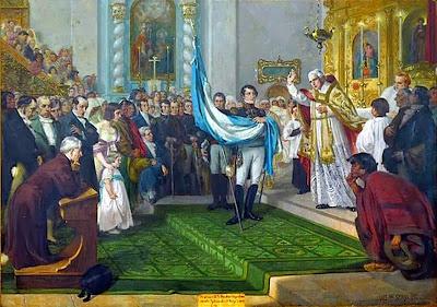 Resultado de imagen de pinturas de Manuel Belgrano inaugurando la bandera