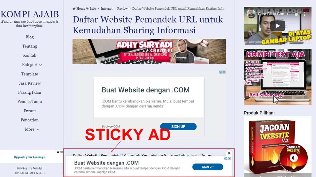 Update Terbaru Adsense Tentang Sticky Ads