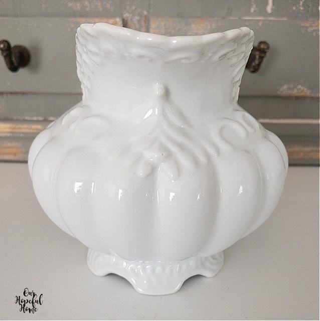 raised porcelain pattern white pitcher
