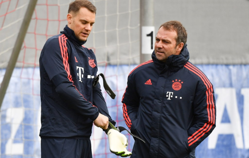 Bayern's captain Manuel Neuer and manager Hans Flick training