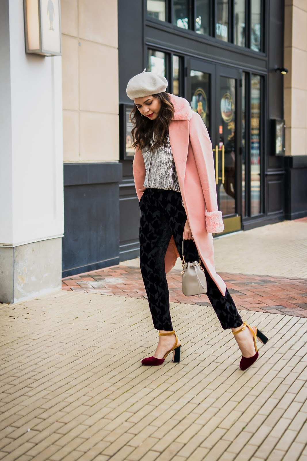 holiday outfit, what to wear to work party, pant options for women in winter, street style, H&M embellished blouse, velvet blouse, beret style, fur lined coat, myriad musings