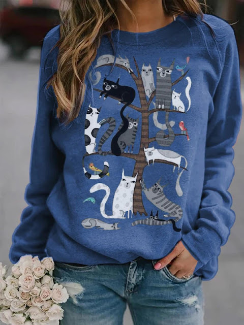 Casual Cat Print Loose Blue Sweatshirt
