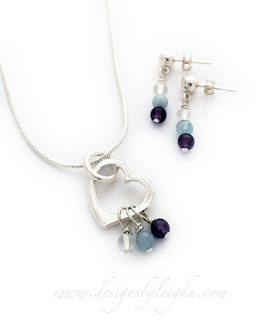 Birthstone Necklace with Matching Earrings - April, March and February