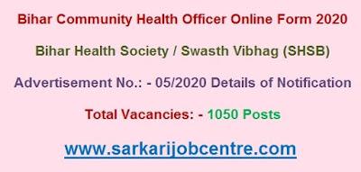 Bihar SHSB CHO Vacancy Online Form 2020