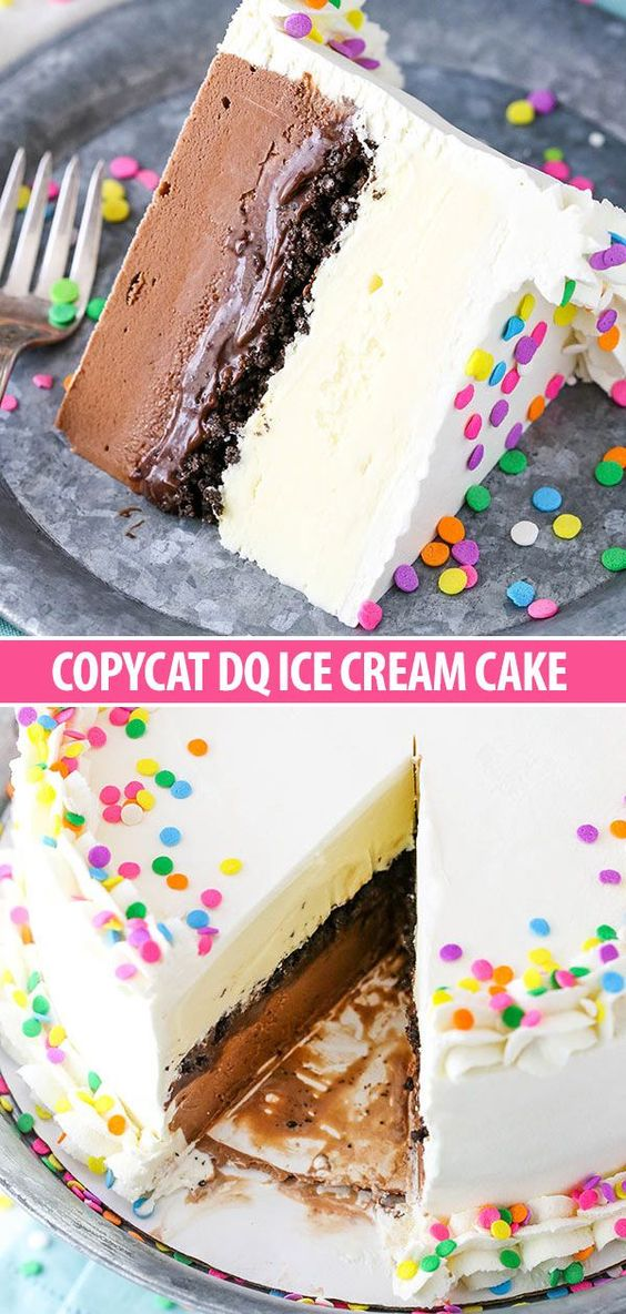 This Copycat Dairy Queen Ice Cream Cake has layers of chocolate and vanilla ice cream around the iconic layer of chocolate crunchies and chocolate fudge. It is so easy to make and just like the real thing!
