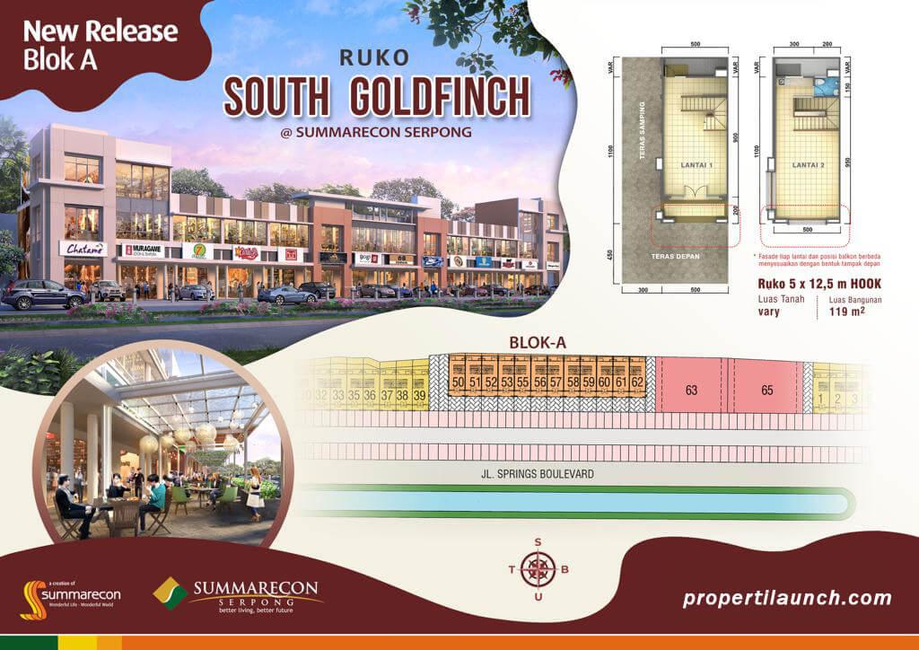 Ruko South Goldfinch Summarecon Serpong Dijual