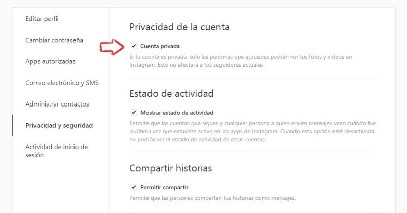 Convierte tu cuenta privada en Instagram