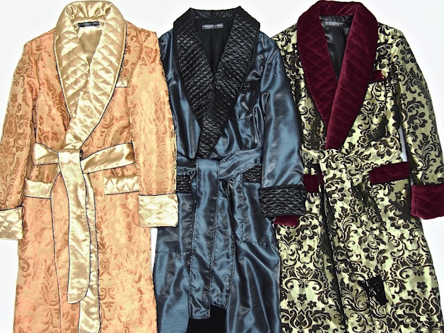 Men's silk dressing gown quilted paisley robe long warm smoking jacket